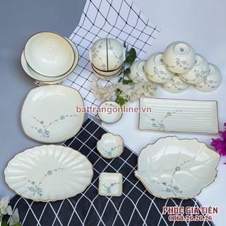 Bộ bát đĩa vẽ đào xanh men kem Bát Tràng