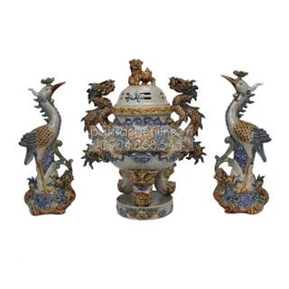 Đỉnh thờ tam sự âu lạc - men rạn cổ - cao 40cm