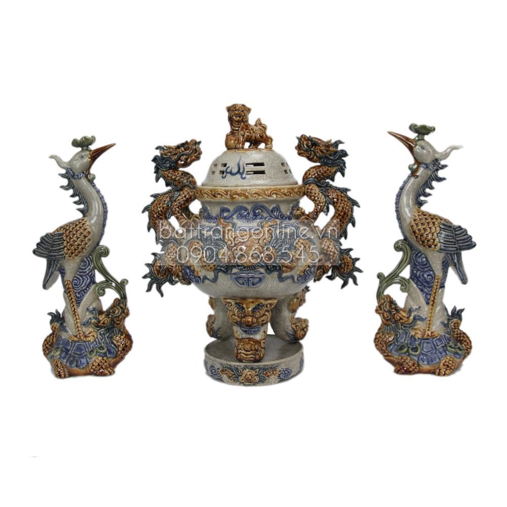 Đỉnh thờ tam sự âu lạc - men rạn cổ - cao 50cm