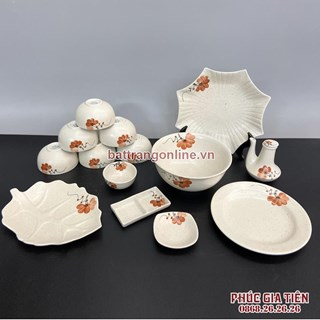 Bộ đồ ăn Bát Tràng vẽ hoa màu cam 14 món