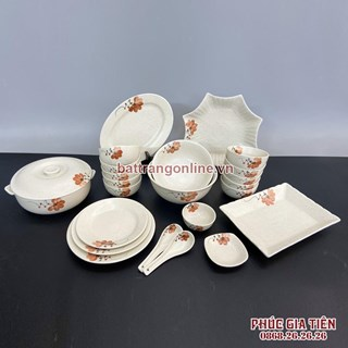 Bộ bát đĩa Bát Tràng vẽ hoa màu cam 23 món