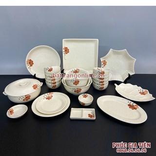 Bộ bát đĩa Bát Tràng hoa màu cam 25 món