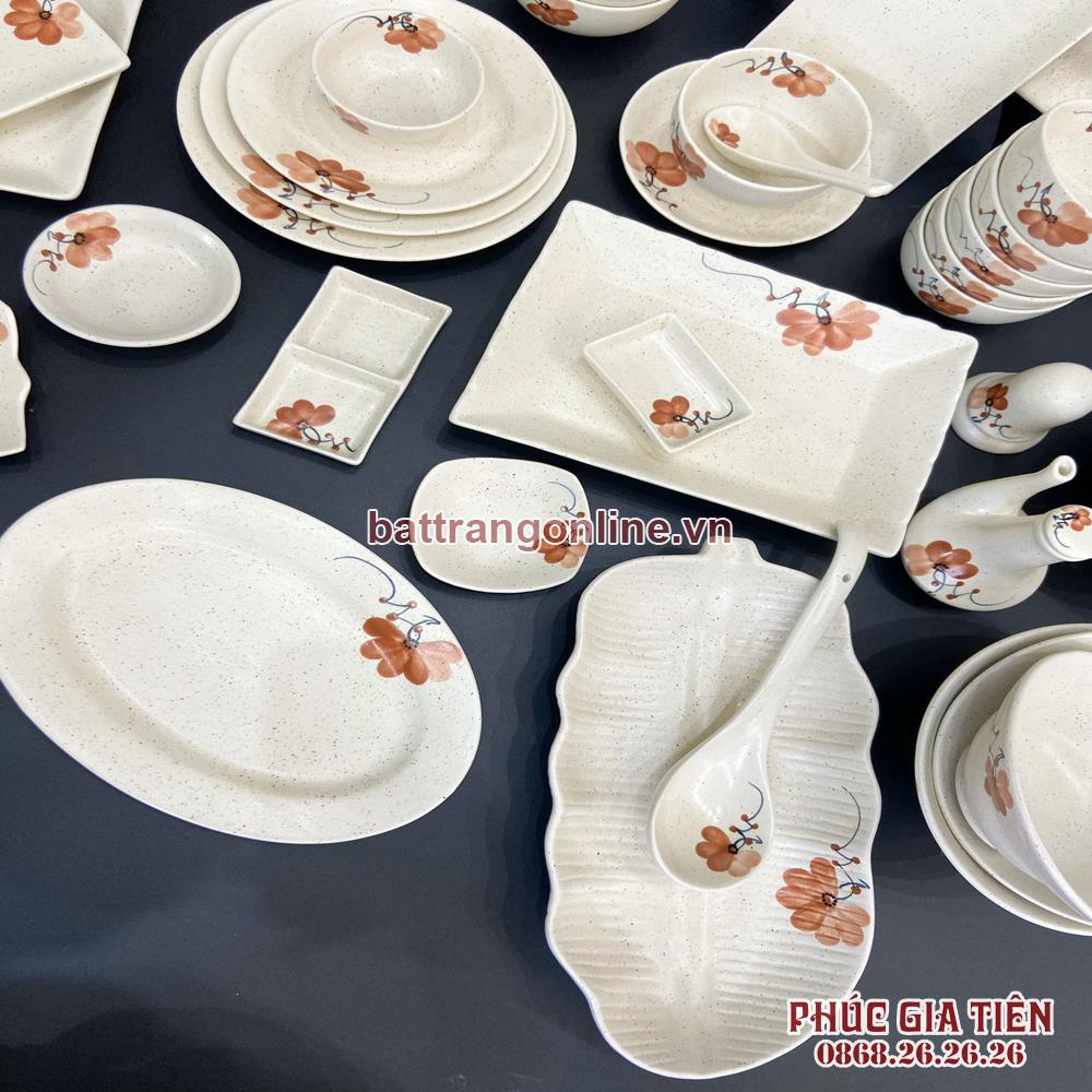 Bộ bát đĩa Bát Tràng vẽ hoa màu cam 48 món