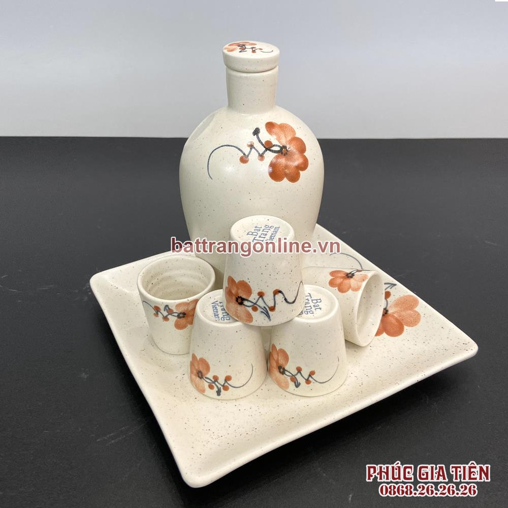 Bộ bình đựng rượu hoa màu cam