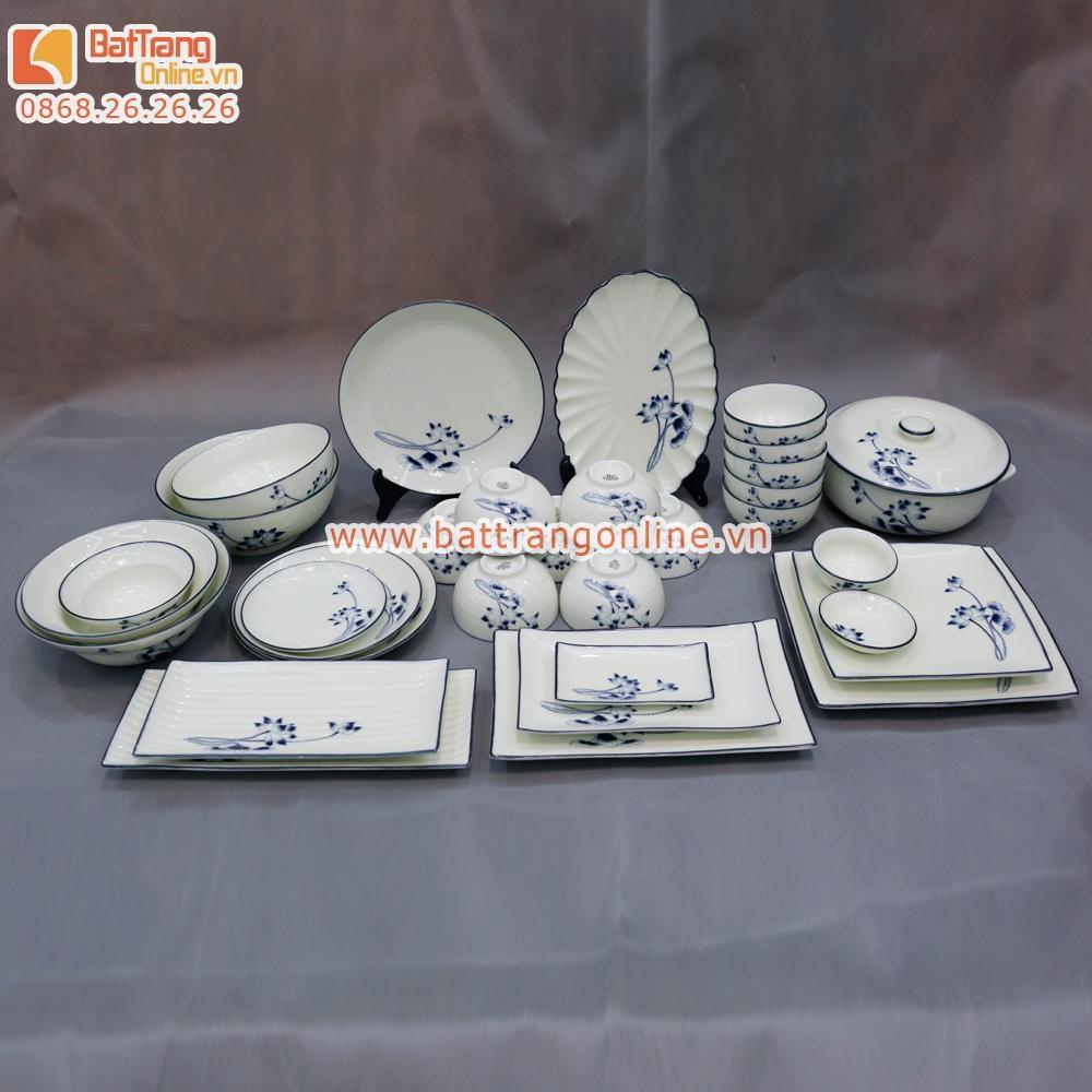 Bộ đồ ăn Bát Tràng - vẽ tay hoa sen - men tràm 32 món