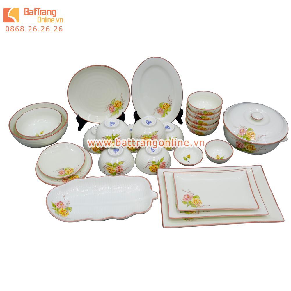Bộ đồ ăn Bát Tràng - vẽ hoa hồng - 25 món