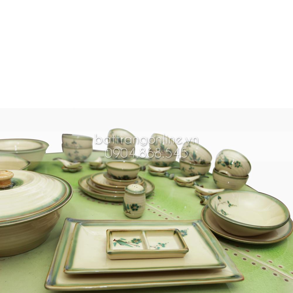 Bộ đồ ăn Bát Tràng 37 món - lá xanh