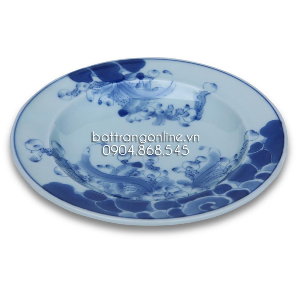 Bộ đồ ăn Bát Tràng - Vẽ hoa sen - Men lam