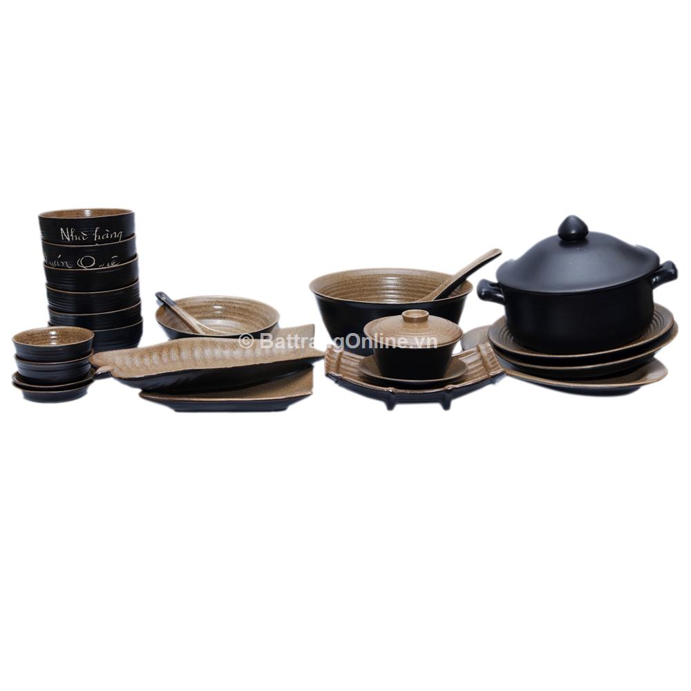 Bộ đồ ăn gốm Bát Tràng - Quê nhà