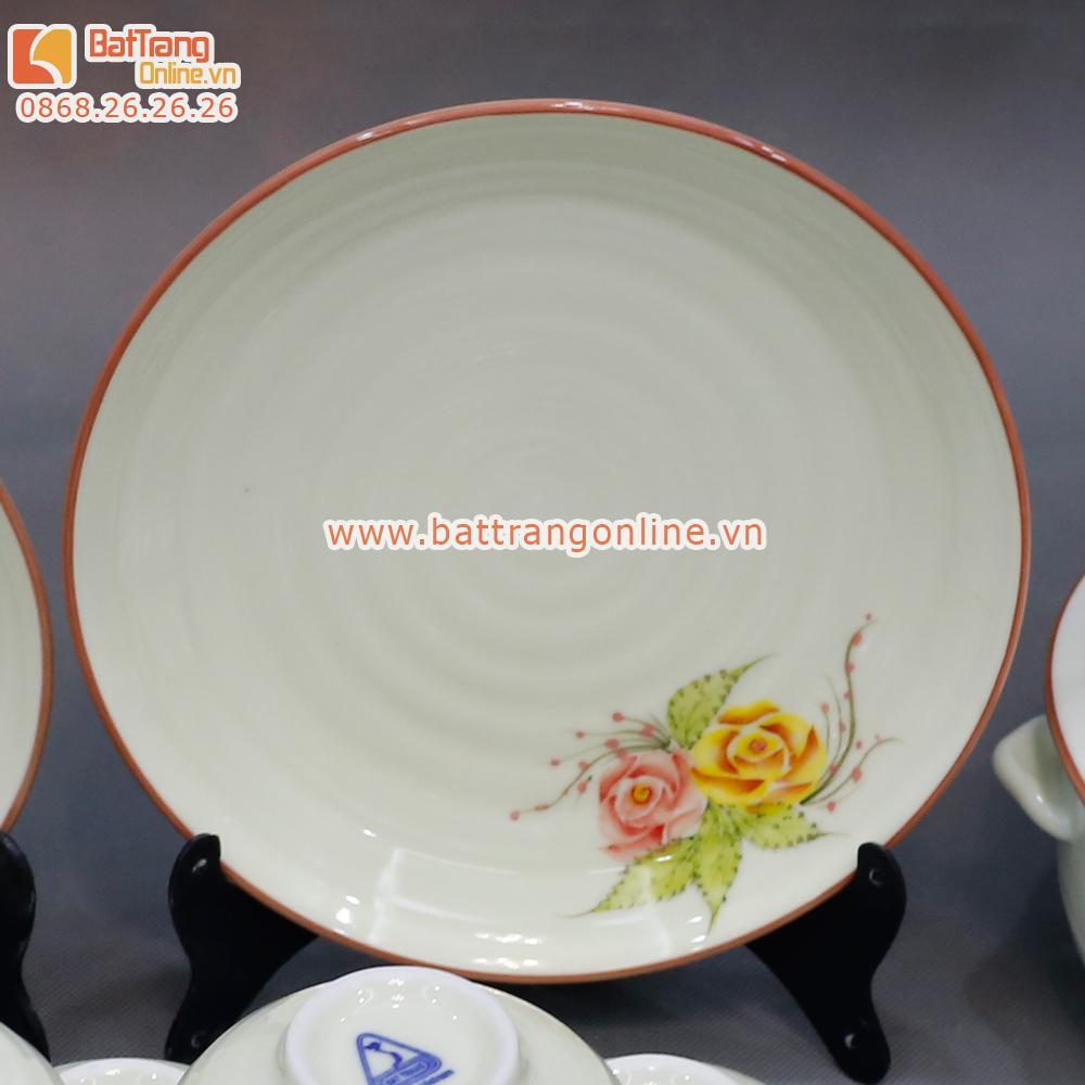 Bộ đồ ăn Bát Tràng - vẽ hoa hồng - 18 món
