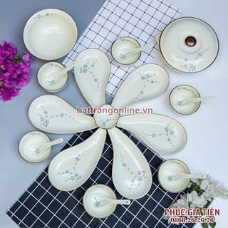 Bộ đồ ăn đĩa lá hoa đào xanh