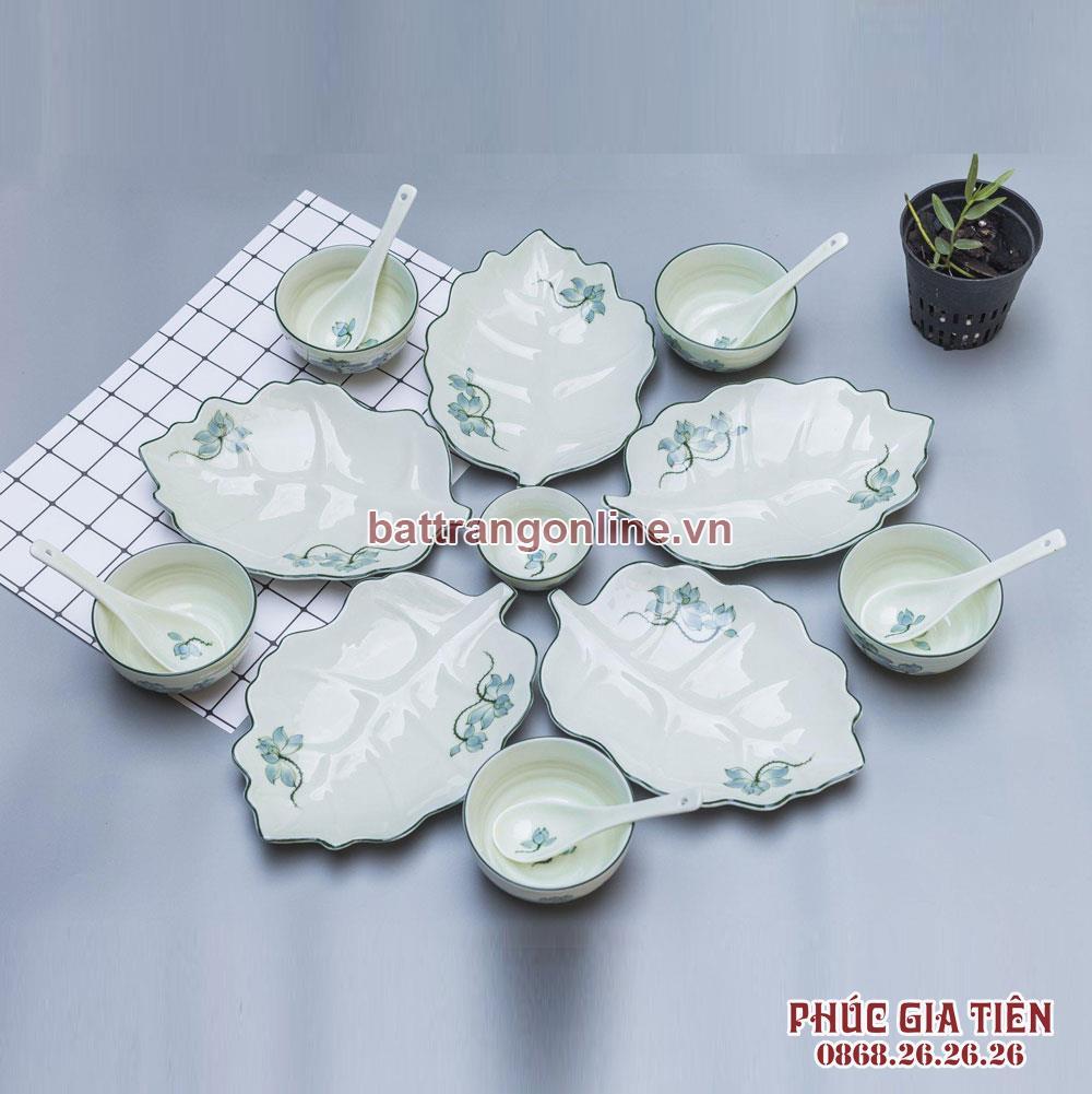 Bộ đồ ăn đĩa lá sâu hoa sen xanh