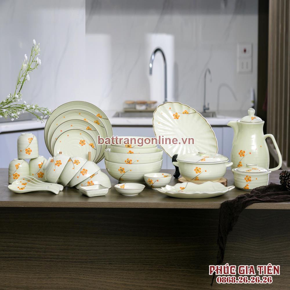 Bộ bát đĩa và bình nước Bát Tràng 27 món vẽ hoa mai vàng