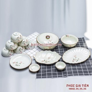 Bộ bát đĩa vẽ đào đỏ men kem Bát Tràng
