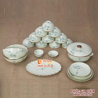 Bộ đồ ăn vẽ hoa đào xanh 19 món