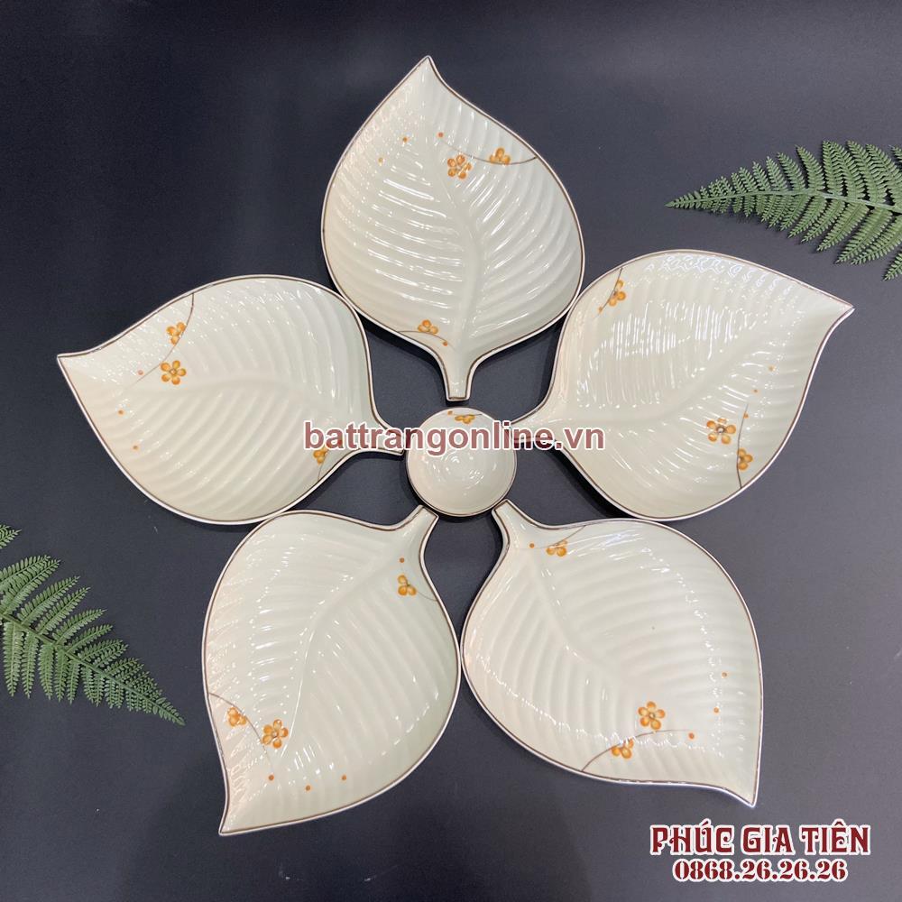 Bộ 5 đĩa lá vẽ hoa mai vàng