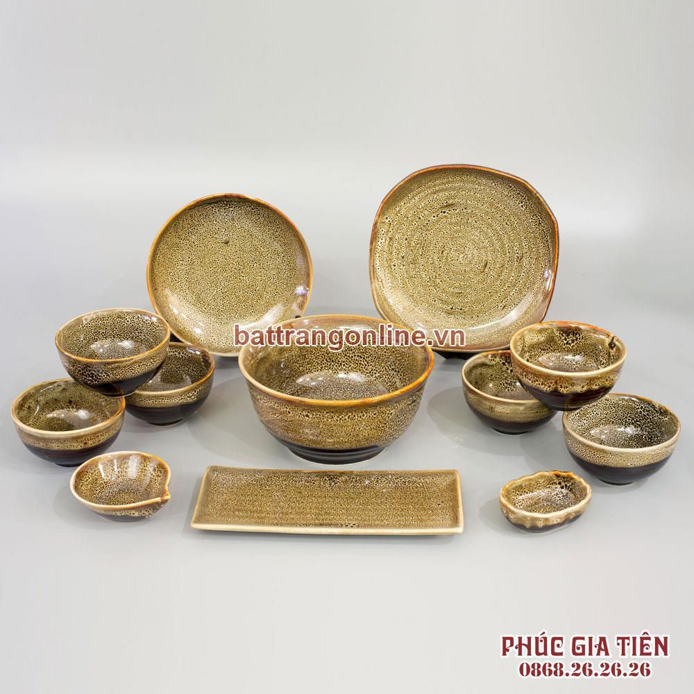 Bộ đồ ăn gấm vàng 12 món