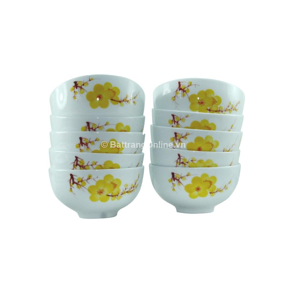 Bộ đồ ăn Bát Tràng 25 món - Hoa mai vàng
