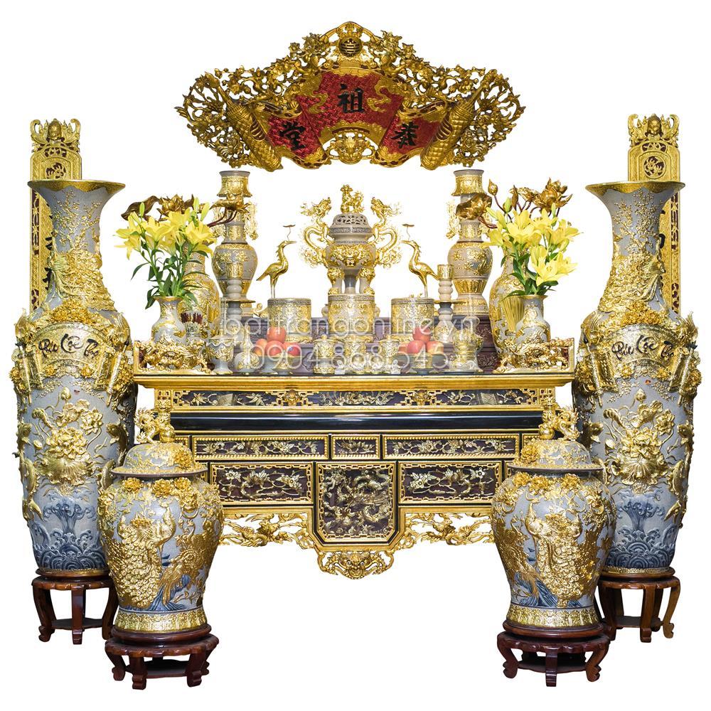Bộ đồ thờ men rạn dát vàng