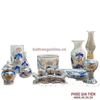 Bộ đồ thờ gốm sứ vẽ vàng 8 món