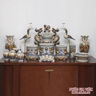 Bộ đồ thờ đắp nổi rồng phượng dành cho bàn thờ đại 2,17m