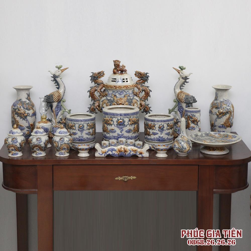 Bộ đồ thờ Âu lạc men rạn cổ - bàn thờ 1m97