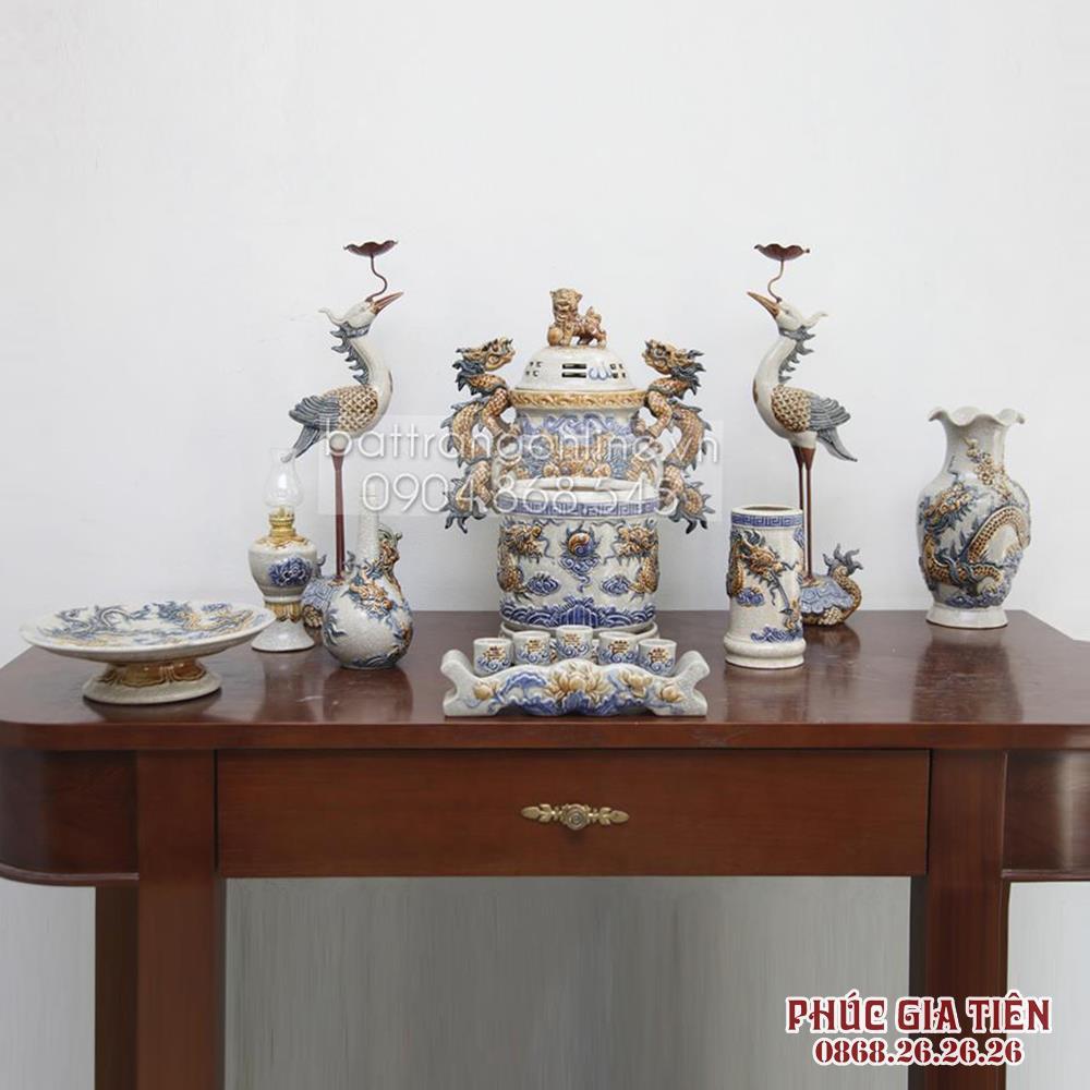 Bộ đồ thờ âu lạc - men rạn cổ - bàn thờ 1.27m - 1 bát hương