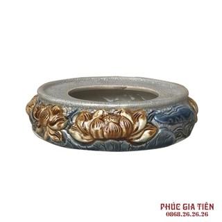 Chân bát hương Sen - men rạn cổ - đường kính 20 cm