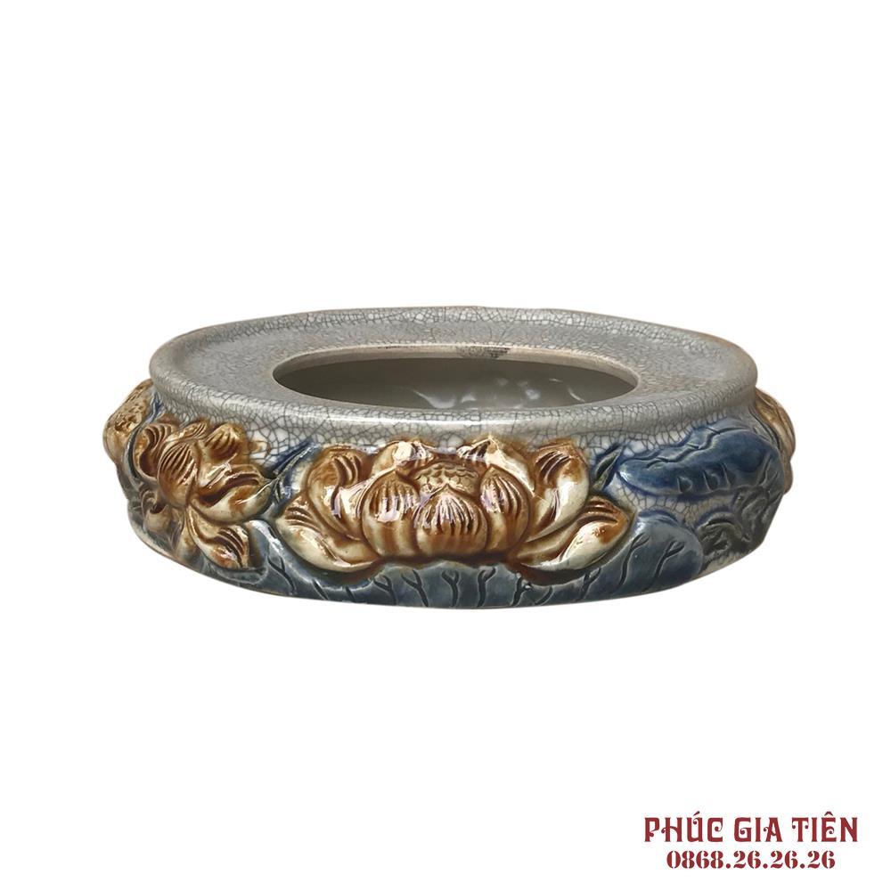 Chân bát hương Sen - men rạn cổ - đường kính 18 cm