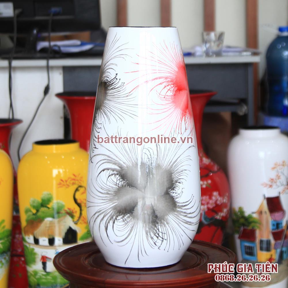 Bình sơn mài giọt nước hoa bông nền trắng cao 38cm