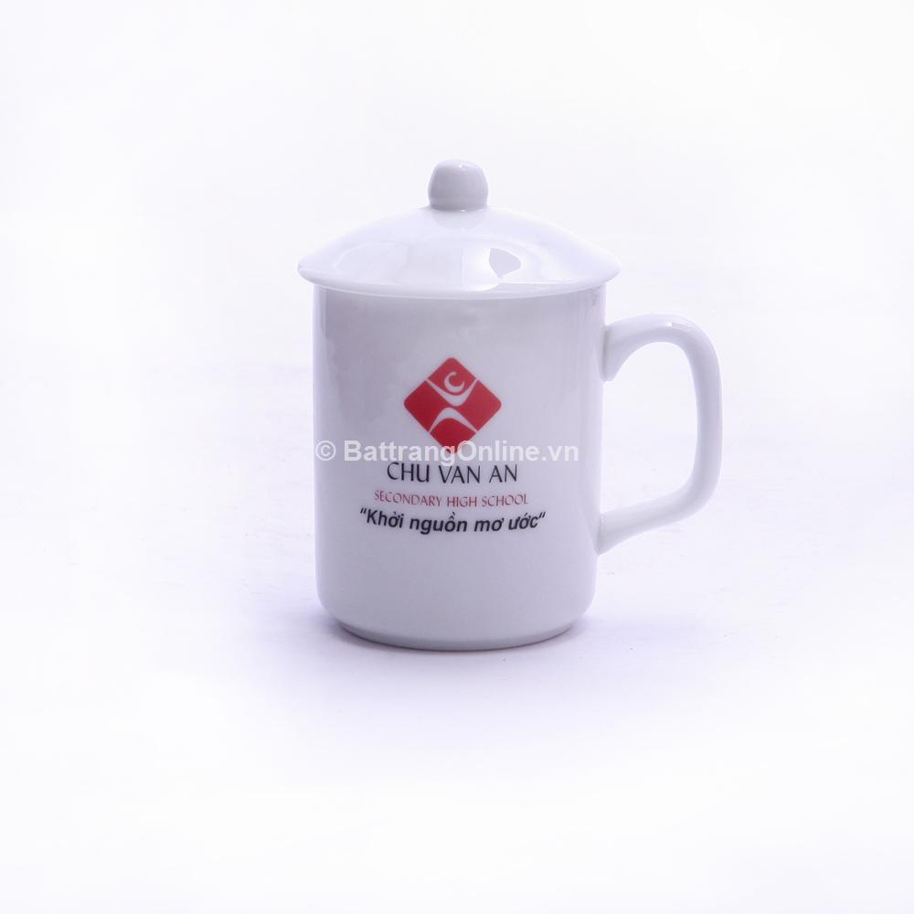 Cốc sứ Bát Tràng in logo - men trắng