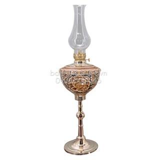 Đèn dầu thờ khắc nổi - chân đồng - đường kính 11 cm
