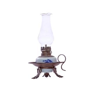 Đèn dầu thờ - dáng đèn đĩa - men lam cổ - cao 20 cm