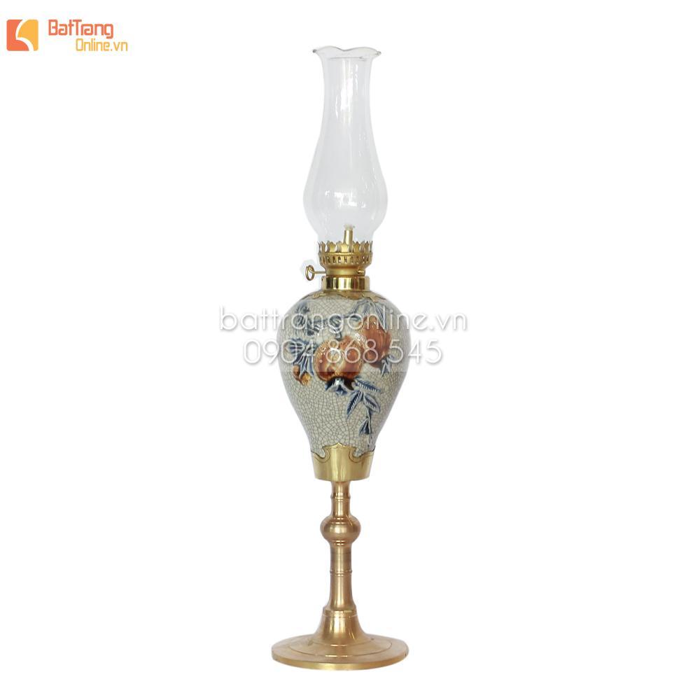 Đèn dầu thờ lưu ly- cao 37 cm