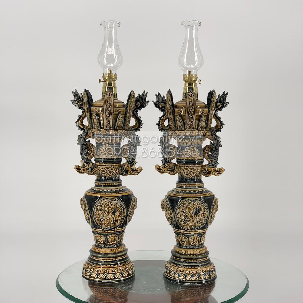 Đèn dầu thờ khắc nổi họa tiết rồng - men nâu - cao 55cm