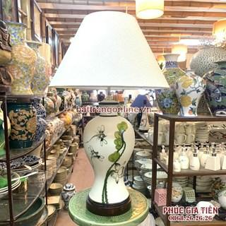 Đèn phòng ngủ vẽ hoa sen xanh, cao 58cm