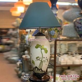 đèn ngủ vẽ hoa sen xanh cao 58cm