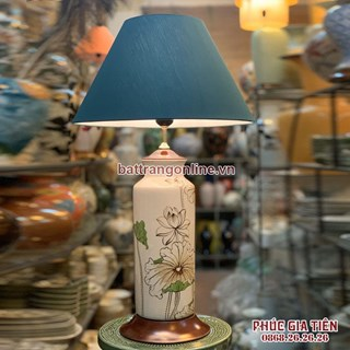 đèn phòng ngủ vẽ hoa sen cao 57cm