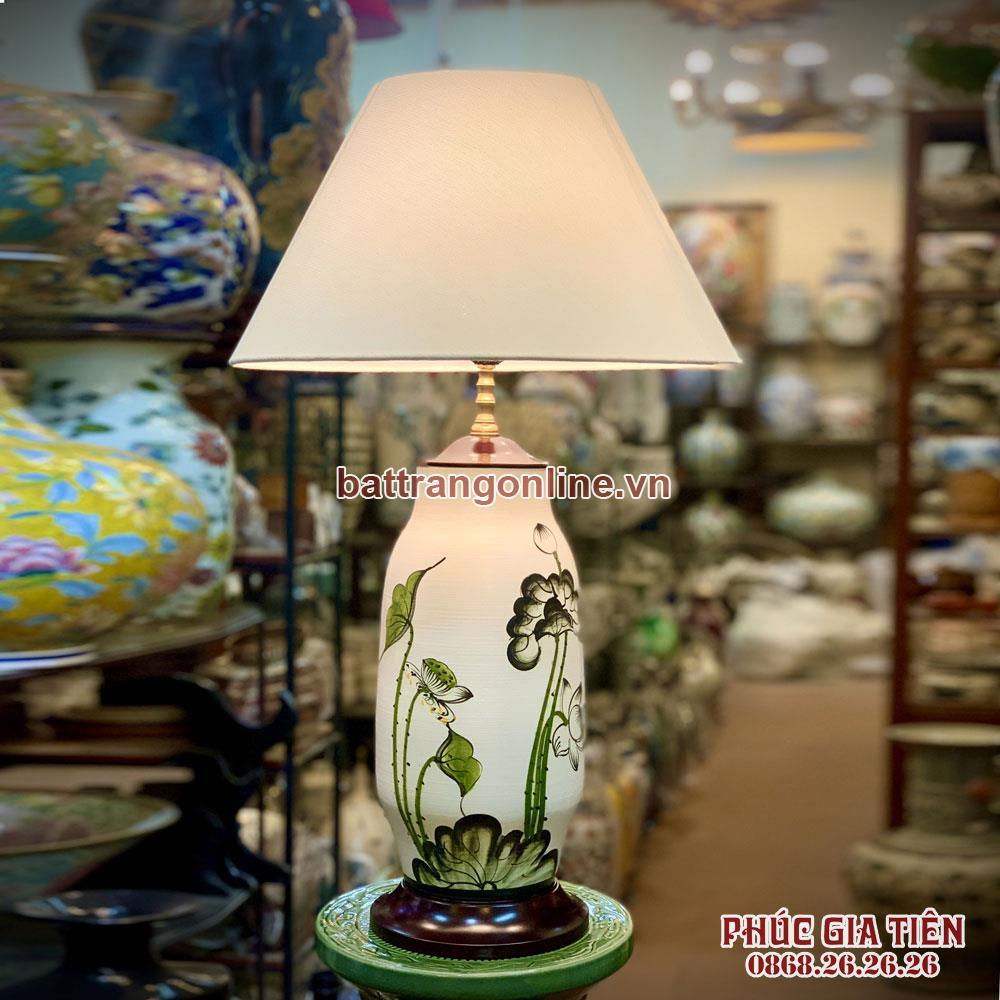 Đèn ngủ hoa sen xanh cao 60cm