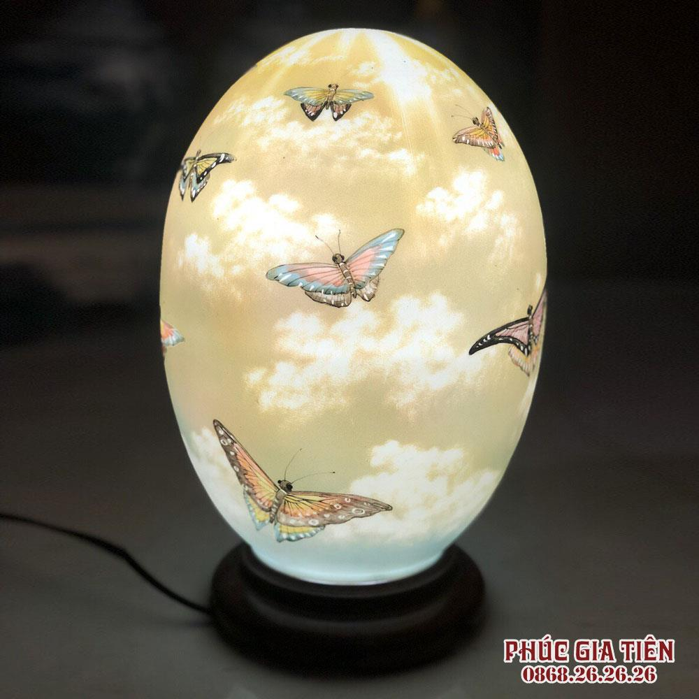 Đèn sứ thấu quang mộng hồ điệp, cao 35cm