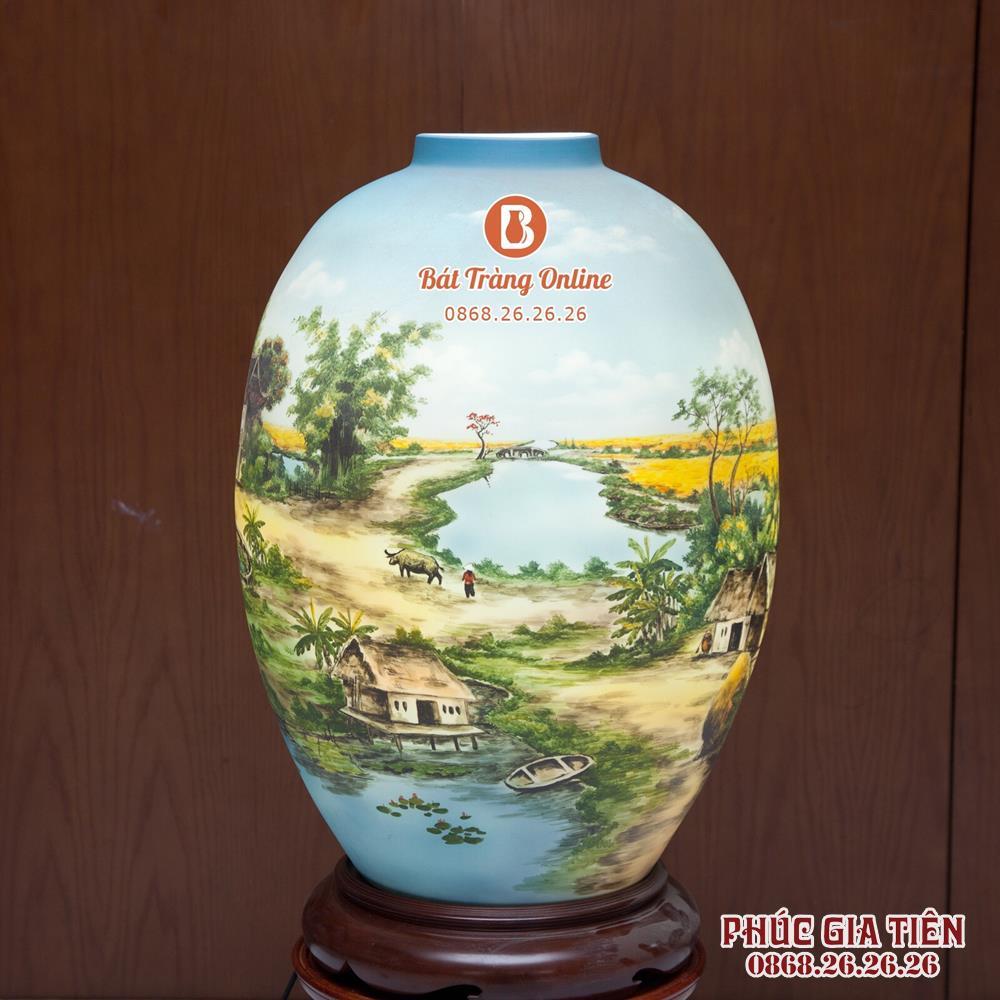 Đèn sứ thấu quang vẽ cảnh đồng quê cao 58cm