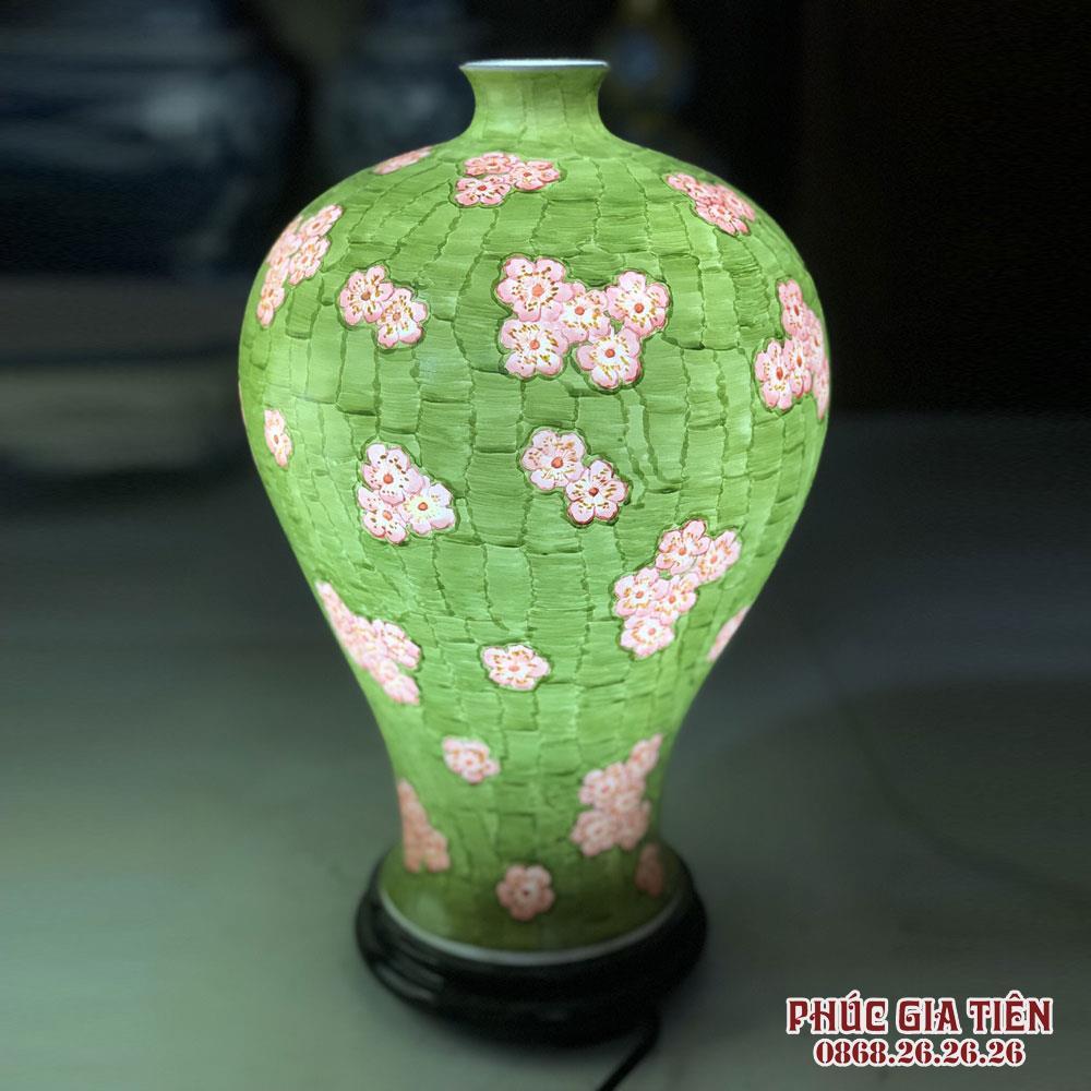 Đèn sứ thấu quang vẽ hoa đào cao 35 cm
