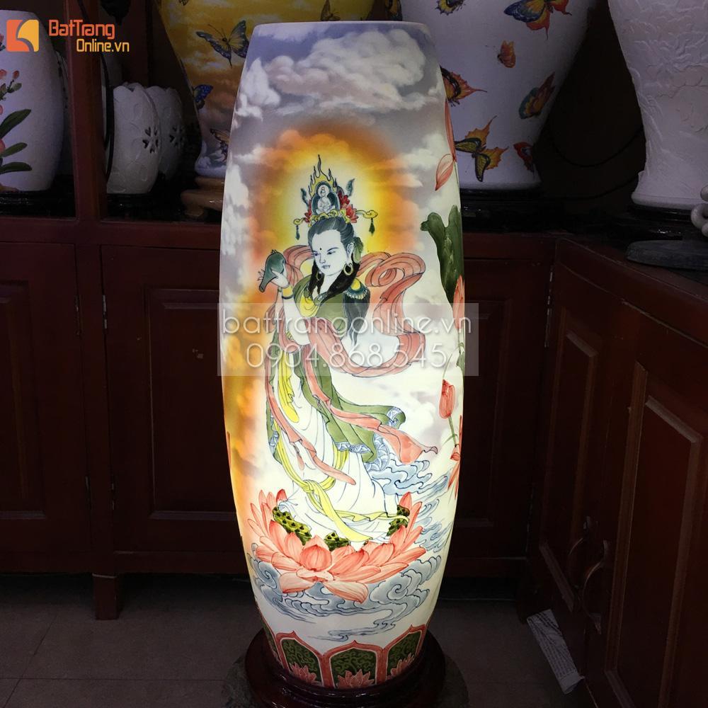 Đèn gốm BATO để bàn vẽ phật bà trên đài sen - cao 62cm