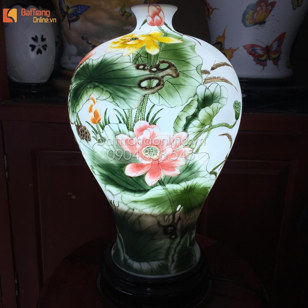 Đèn gốm BATO trang trí để bàn vẽ hoa sen - cao 35 cm