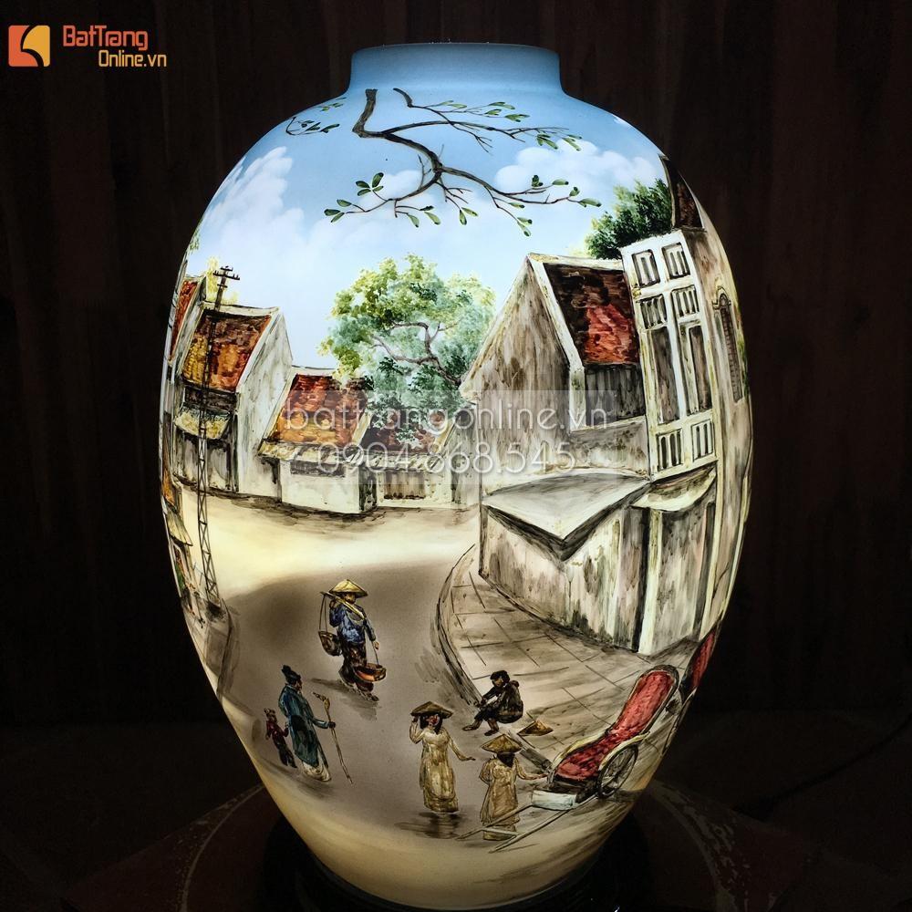 Đèn gốm BATO trang trí để bàn vẽ phố cổ - cao 58cm