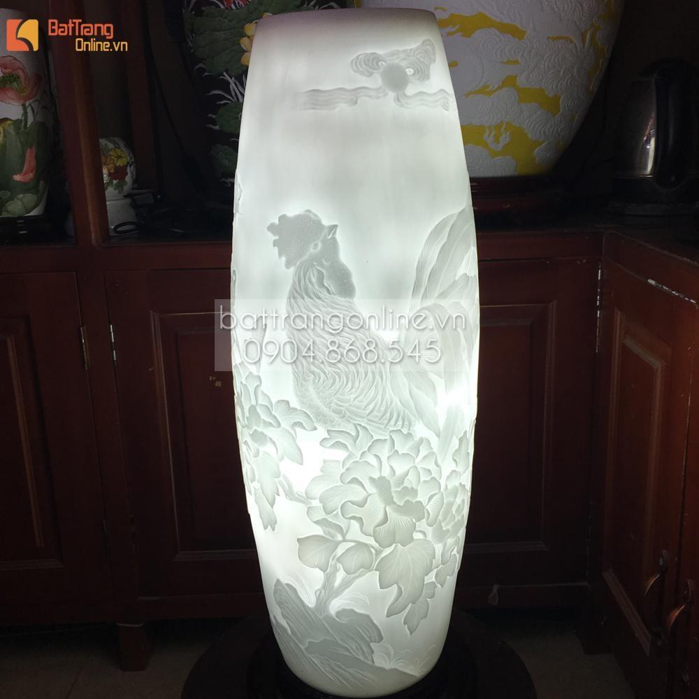 Đèn gốm vẽ tiêu kê - cao 62cm