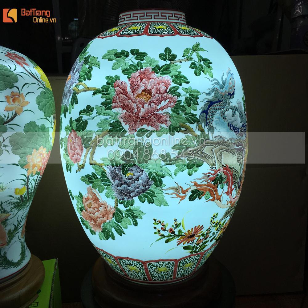 Đèn sứ Bát Tràng uyên ương sum vầy - 60x38cm