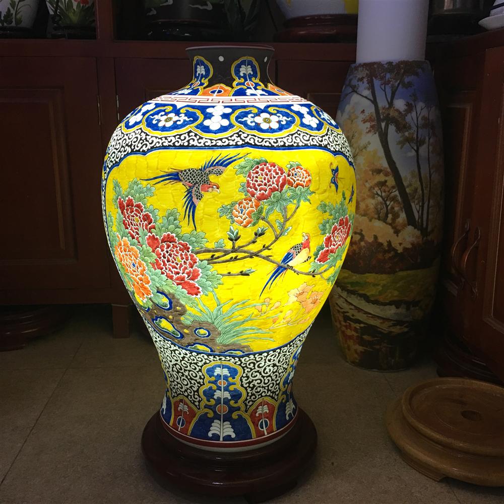 Đèn sứ thấu quang vẽ chim trĩ hoa phù dung - cao 58cm