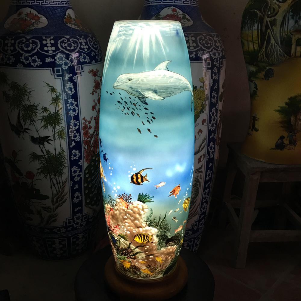 Đèn sứ thấu vẽ ánh sáng dưới đáy đại dương - cao 62cm