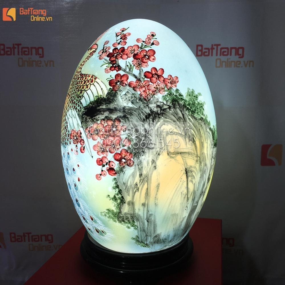 Đèn trang trí dáng trứng - vẽ chim công - cao 32cm